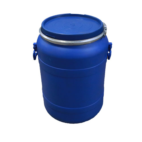 14 gal open head poly recon blue p/c with handles
